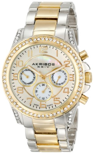 Akribos XXIV Women's Ultimate Two-Tone Bracelet Watch With Crystal Accents