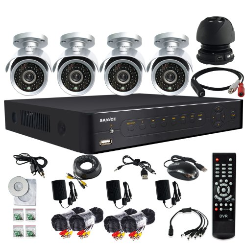 Sannce Sound Pickup Audio Microphone Cable Device Device 4 Channel 960H H.264 Cctv Security Surveillance Hdmi Motion Recording Dvr & 4 Cmos Outdoor Weatherproof Ir Night Vision Bullet 700Tvl Cameras, 500Gb Hard Drive Pre-Installed ( Silver )