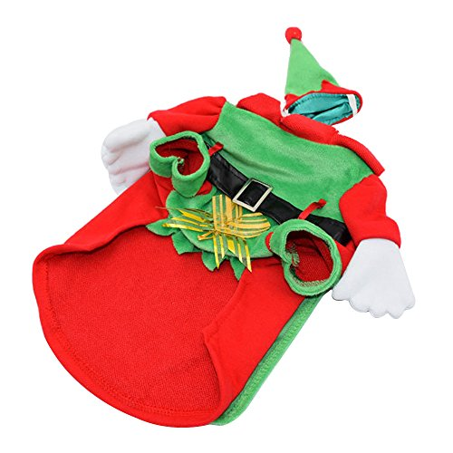 [AENMIL New Christmas Pet Costume with Corsage, Puppy Clothes with Cap & Cloak Standing, Suitable for Teddy & Small and Medium-size Dogs -] (Underdog Pet Costume)