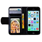 Leather Magnetic Flip Ic Card Wallet Stand Purse Case Cover for Iphone 5c (Black)