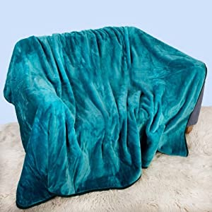Fur Faux Blanket Bed Sofa Soft Teal 150x200cm by Elizabeth Jayne
