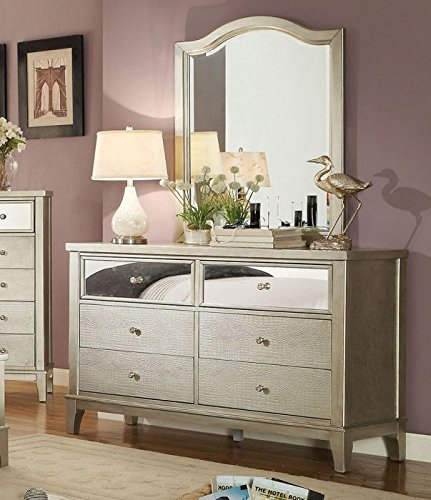 Esofastore Adeline Collection Contemporary Bedroom Furniture Tufted Leatherette Silver Color Queen Size Bed Mirror Front Dresser Mirror Nightstand 4pc Set Wood