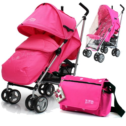 Baby-Stroller-Zeta-Vooom-Complete-Raspberry-Pink-With-HS-Footmuff-Headhugger-Changing-Bag-And-Raincover