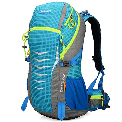 Altosy 42l Internal Frame Pack Camping Travel Backpack Outdoor Hiking Daypacks Climbing Cycling Bag Waterproof Mountaineering 1311 (Blue)