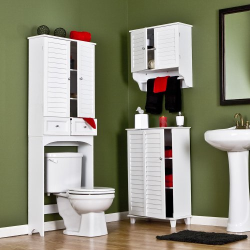 SEI Nassau White Louvered Towel Cabinet