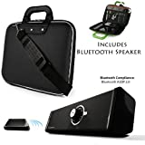 Black Cady Executive Leather Hard Cube Carrying Case with Shoulder Strap For Toshiba Excite 10 SE 10.1-inch Screen Tablet + Powerful Bluetooth Speaker