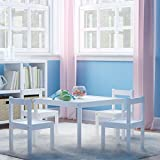 Kids Table and Chairs Set White Wood Childrens Set with 1 Square Table and 4 Chairs , Great for Playing , Learning , Eating