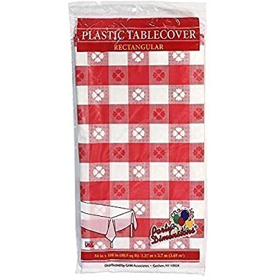 """Party Dimensions 54"""" X 108"""" Inch Rectangle Tablecover, Red and White, Gingham Pattern"""