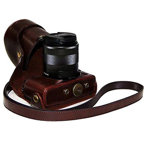 No1accessory XJPT-EOSM-10 コーヒー色 Canon Eos M . Canon Eos M2 . (18-55mm) 専用 防水 PU レザー 一眼レフ カメラバッグ カメラケース ハンドストラップ 付き