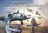 Burundi - 2012 Amelia Earhart - 4 Stamp Sheet - 2J-386