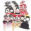 44pcs moustache l�vre lunettes loup masque avec b�ton pour Masquerade