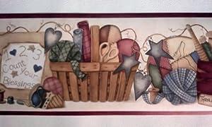 Sewing room wallpaper border thread yarn needles amazon co uk diy