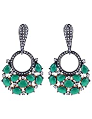 Gehnashop Green Stones Decorated With CZ And Black Rodium Earrings For Women
