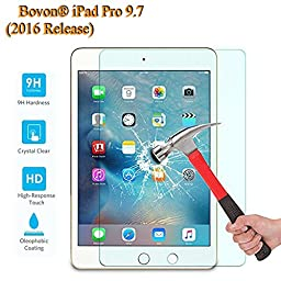 Bovon iPad Pro 9.7 Tempered Glass Screen Protector, Ultra Clear & Thin 99% Touchscreen Accurate 9H Hardness Round Edge Anti Scratch & Shatter & Oil Perfect Fit for Apple iPad Pro 9.7 (2016 Version)