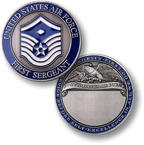 First Sergeant E7 Air Force Engravable Challenge Coin