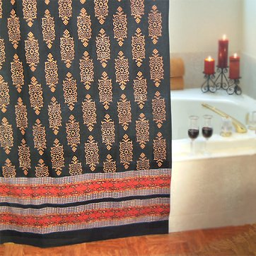 Kilim Noir ~ Designer Black Gold Cotton Fabric Shower Curtain 72x72