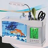 Mini USB LCD Desktop Lamp Light Fish Tank Aquarium LED Clock White