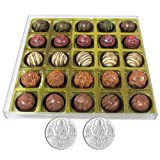 Chocholik - 25Pc Signature Chocolates With 5gm X 2 Pure Silver Coins - Gifts For Diwali