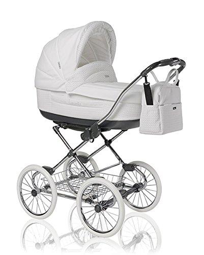 12-teiliges-Klassisches-Qualitts-Kinderwagenset-2-in-1-Roan-MARITA-PRESTIGE-Kinderwagen-Buggy-Sonnenschirm-Chromgestell-Mega-Zubehr-in-Farbe-P-200-WEISSES-KUNSTELDER-GESTEPPT