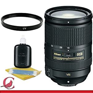Nikon AF-S Nikkor DX 18-300mm f/3.5-5.6G ED VR Lens + UV Filter Package