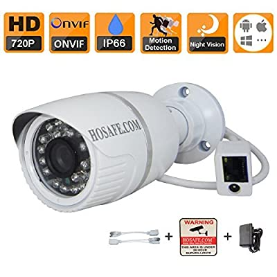HOSAFE 1MB1-P ONVIF 720P IP Camera HD Outdoor 1.0 Megapixel 1280*720P Weatherproof Metal Bullet 36 leds for 66ft night vision, Free P2P Cloud server supporting working on Iphone/Android, 3.6mm Megapixel lens, IR Cut for true color picture