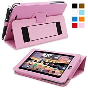 Snugg Nexus 7 Case - Smart Cover with Flip Stand & Lifetime Guarantee (Candy Pink Leather) for Google Nexus 7 (2012)