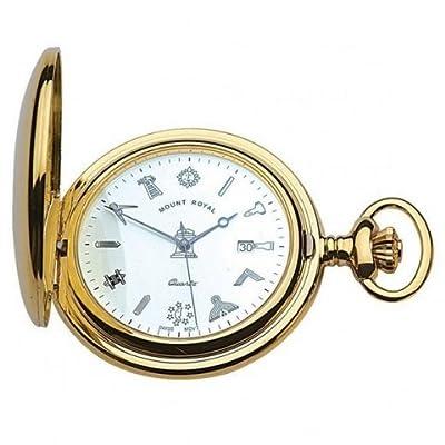 Mount Royal Pocket Watch G408PQ Gold Plated Masonic Half Hunter