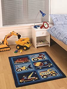 Boy's Soft Blue Digger/Lorry Durable Kid's Playroom Rug 80 x 100cm from The Rug House