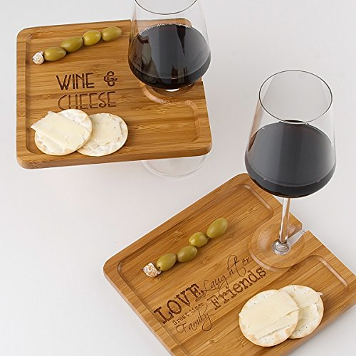 Bamboo Party Plate (set of 4) - Love & Friends (Appetizer Plates With Wine Holder compare prices)