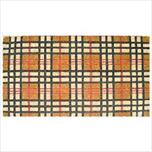 Plaid Design Coir Doormat