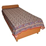 Block Printed Floral Bagru Print Design Cotton Flat Single Bed Sheet - B00GSSPETU