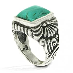 Bling Jewelry Designer Inspired Sterling Silver Vintage Turquoise Square Ring - 7