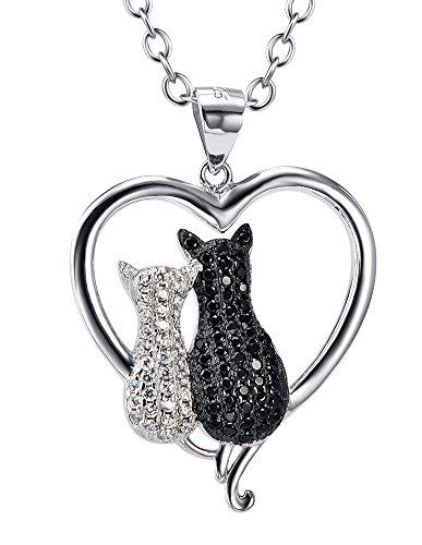 Donne Collana Due Gatto Argento Sterling Zirconi Pendente gioielleria per le ragazze signora