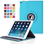 Apple iPad Air 2 Case - MoKo 360 Degree Rotating Cover Case for Apple iPad Air 2 (iPad 6) 9.7 Inch iOS 8 Tablet, Light BLUE (with Smart Cover Auto Sleep / wake)