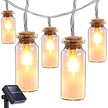 Oak Leaf Solar String Lights,9.8 ft 30 LEDs Waterproof Glass Jar LED Fairy Deceration Lights for Outdoor Garden Backyard Wedding Indoor Party,Warm White