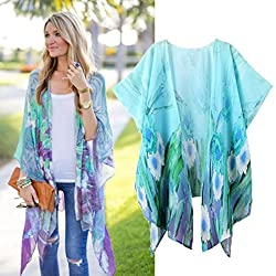 Lacaca Womens Casual Print Kimono Loose Cardigan Chiffon Tops Cover up Blouse