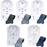 【福袋】メンズバツ形態安定ワイシャツ5枚・グリニッジポロクラブ ネクタイ5本 ビジネスマン応援1週間コーディネート10点セット 形態安定 色柄おまかせ福袋