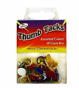 Pencil Grip The Classics Thumb Tacks, Assorted Colors, 48 Count Box (TPG-227)