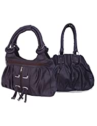 Arc HnH Women Combo Handbag Pretty Black + Fancy Ring Dark Brown