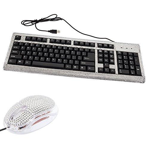 Gift Set - Crystal Case Rhinestone Keyboard & Usb Mouse Bling Combo (Silver)