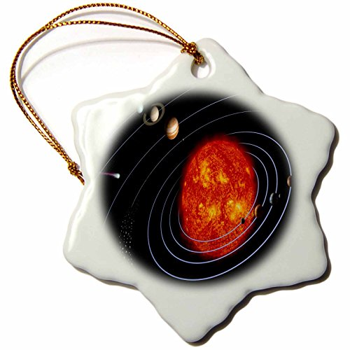 3dRose orn_80606_1 NASA Diagram of Planet N Solar System-Snowflake Ornament, Porcelain, 3-Inch