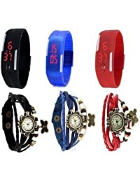 COSMIC COMBO BUTTERFLY PENDENT BRACELET WATCH WITH MAGNET BAND RED BLUE BLACK