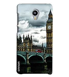 Omnam London Bridge With Clock Tower Printed Designer Back Cover Case For Meizu M2