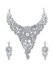 Sukkhi Attractive Rhodium Plated AD Stone Studded Necklace Set For Women