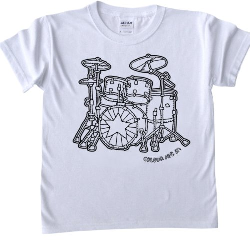 Drums Design Design T-Shirt for colouring in.