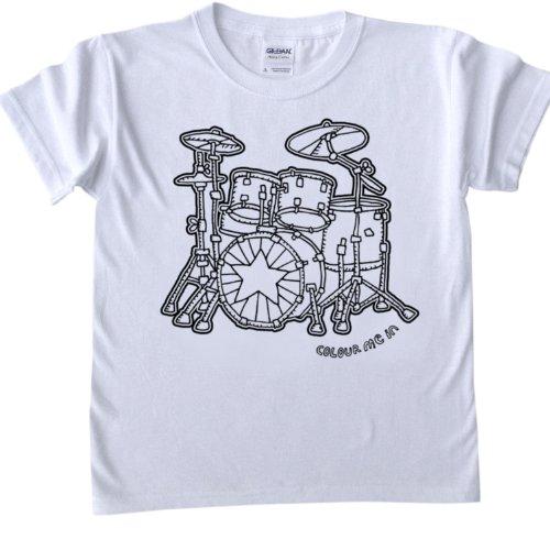 T-Shirts-zum-Ausmalen-fr-Kinder-Schlagzeug-fr-Kinder-im-Alter-von-7-8-Jahrenpermanente-stoffmarkierer-sind-separat-erhltlich