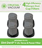 4 Dirt Devil F25 Dust Cup Filters Designed To Fit Dirt Devil Vacuum Cleaner F25 F-25 Filter, Versa Power Filter, Compare To Part # 2SV1102000, 3SV0980000, Designed & Engineered By Crucial Vacuum