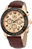 Invicta Men's Speedway Chronograph Watch 10711 with Iprg Black Bezel and Brown Leather Strap