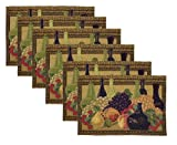 Park B. Smith Wine Classic 6-Piece Tapestry Placemat Set, 12-1/2 by 19-Inch
