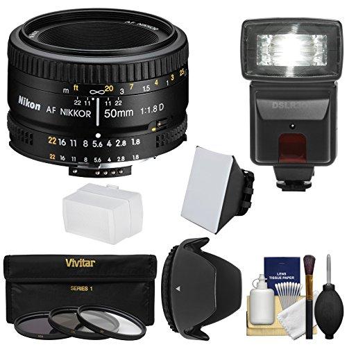 Nikon 50Mm F/1.8D Af Nikkor Lens With 3 Filters + Hood + Flash & 2 Diffusers + Kit For D3100, D3200, D3300, D5100, D5200 & D5300 Dslr Cameras